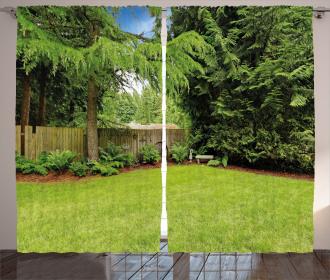 Pine Trees Backyard Curtain