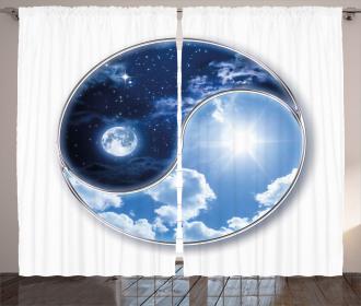 Moon and Sun Figures Curtain