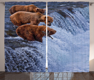 Wild Bear Fish Nature Curtain