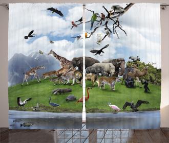 Tropic Animal Collage Curtain