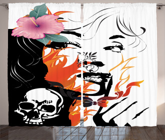 Pink Flower and Skull Curtain