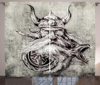 Sketchy Viking Warrior Curtain