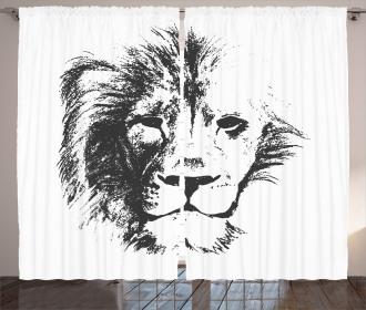Sketchy Jungle Lion Curtain