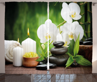 Zen Stones and Orchids Curtain