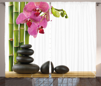 Pink Orchid and Bamboos Curtain