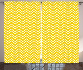 Chevron Pattern Yellow Curtain