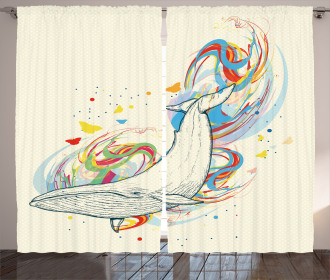Whale in Ocean Dive Curtain