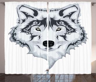 Tibal Wild Wolf Tattoo Curtain