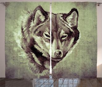 Winter Wild Wolf Forest Curtain
