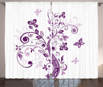 Flowers Leaf Butterlies Curtain