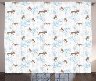 Winter Retro Forest Curtain