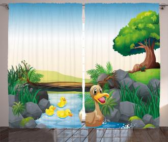 Cartoon Farm Animals Curtain
