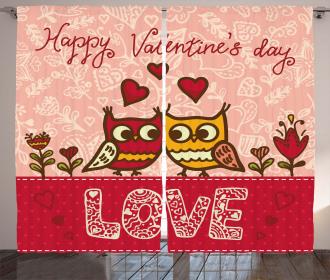 Owls Love Heart Curtain