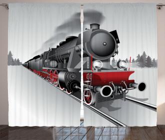 Railway Train Art Curtain