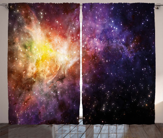 Outer Space Nebula View Curtain