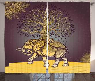 Asian Elephant in Nature Curtain