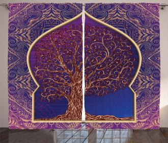 Retro Eastern Branches Curtain