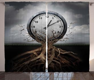Clock Surrealist Symbol Curtain