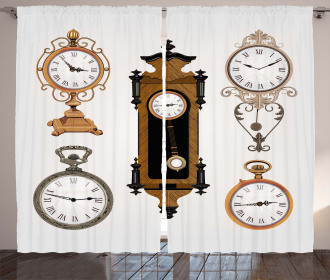 Antique Clocks Pattern Curtain