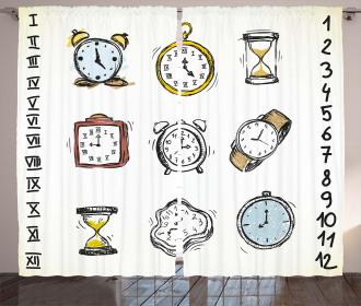Hand Drawn Vintage Clock Curtain