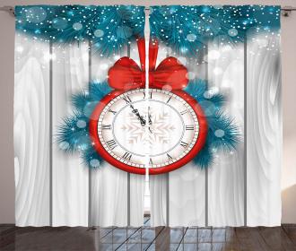Midnight Clock Pine Curtain