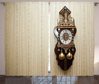 Wood Wall Carving Clock Curtain