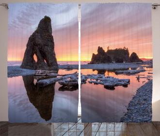 Sunset Sea Stacks Beach Curtain