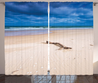 Deserted Sandy Beach Curtain