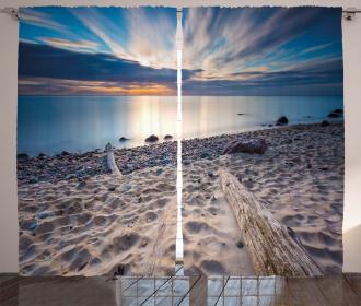 Rocky Sea Shore Trees Curtain