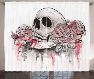 Skull Head Roses Curtain