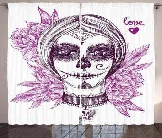 Vampire Skull Face Curtain