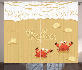 Card with Cute Crabs Sea Curtain