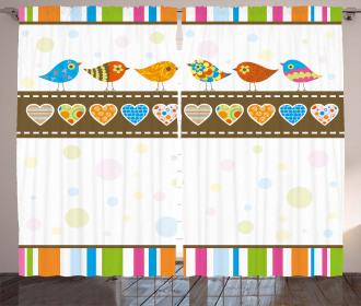 Birds Hearts Stripes Curtain