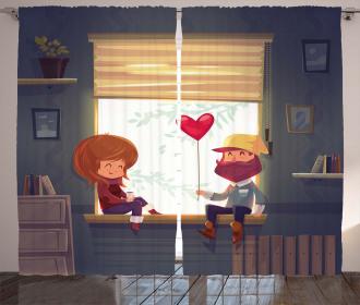 Love Romantic Couple Curtain