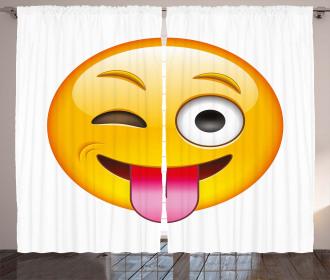 Cartoon Romantic Smiley Curtain