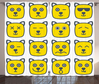 Cat Dog Smiley Expression Curtain