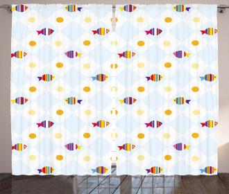 Fish Cartoon with Spots Curtain