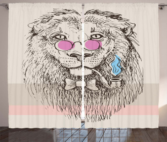 Lion Head Hipster Style Curtain