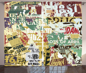 Old Torn Posters Collage Curtain