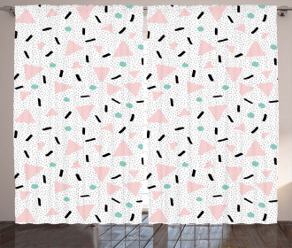 Retro Triangles Dots Curtain