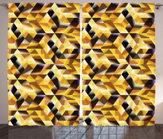 Graphic Cubes Blocks Curtain