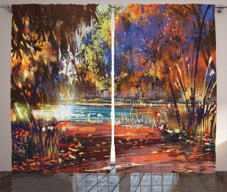 Painting Nature Pond Curtain