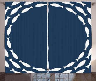Ocean Navy Fish Circle Curtain