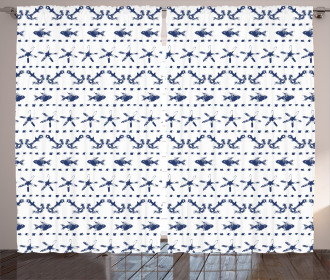Anchor Starfish Sea Life Curtain