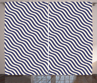 Wavy Stripes Dark Blue Curtain