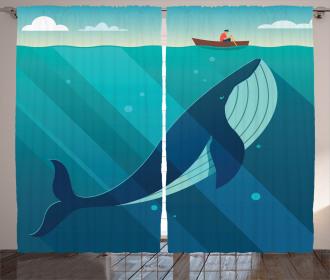 Sailor Whale with Rays Curtain