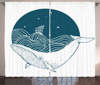 Whale and Stars Old Ship Curtain