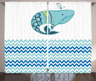 Whale with Zig Zag Pattern Curtain