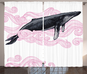 Striped Dreamy Whale Curtain