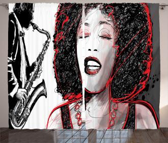Afro American Girl Sings Curtain